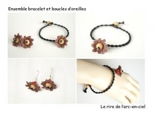 Bijoux marron bracelet et boucles d'oreilles