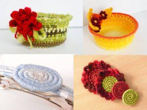 Exemples de créations en vannerie textile spiralée Le rire de l'arc-en-ciel 2