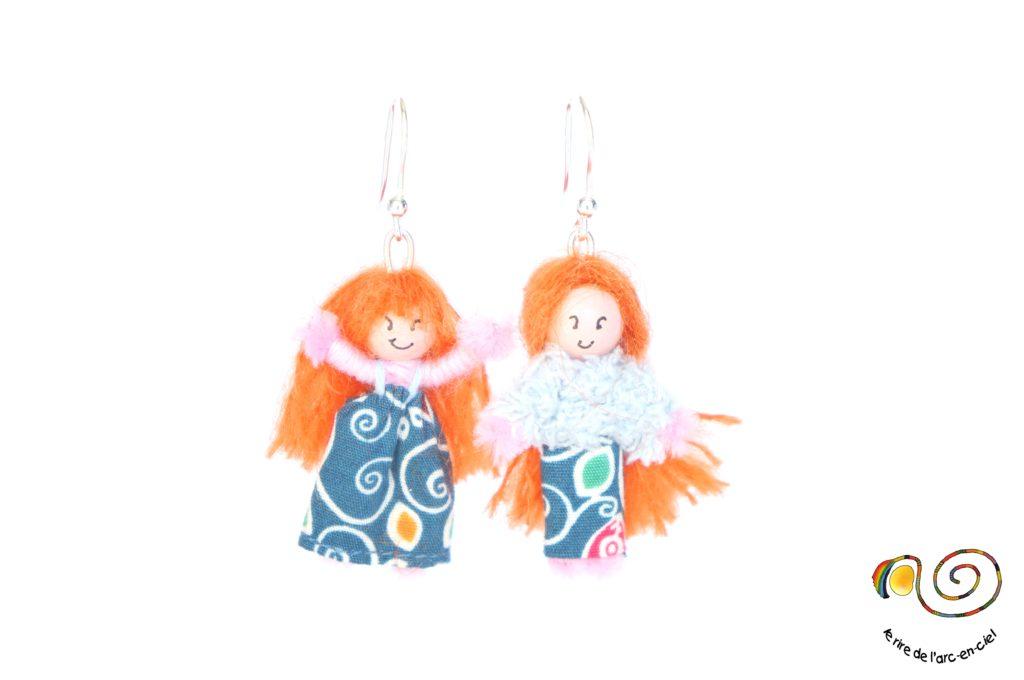 Boucles d'oreilles poupées coordonnées