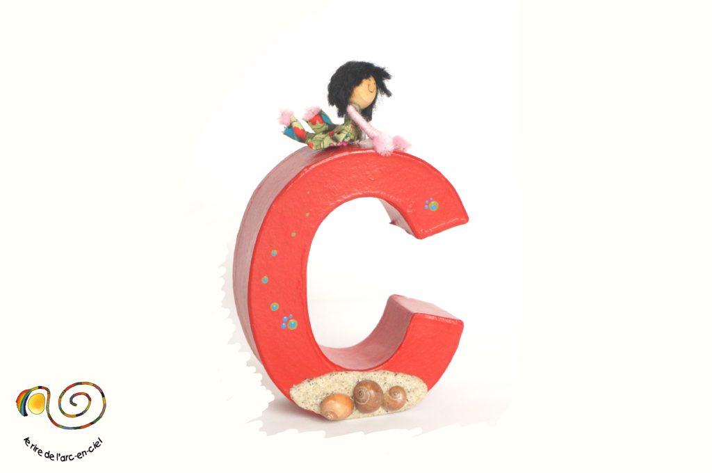 Lettre décorative C rouge
