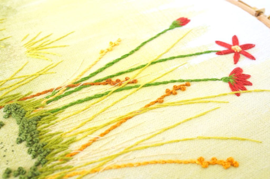 Broderie de fleurs rouges