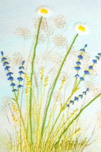 Détail de tableau brodé, herbes folles