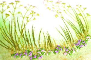 Détail de tableau brodé, tapis de fleurs