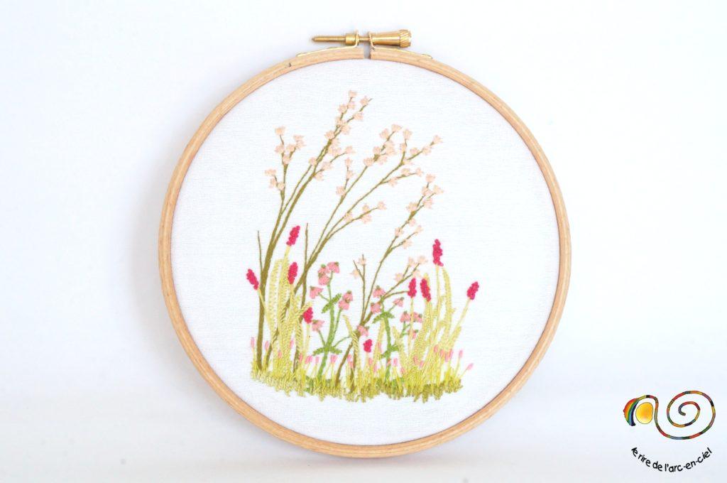 Tableau hublot brodé fleurs sauvages