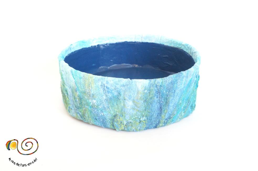 Corbeille bleue technique mixte